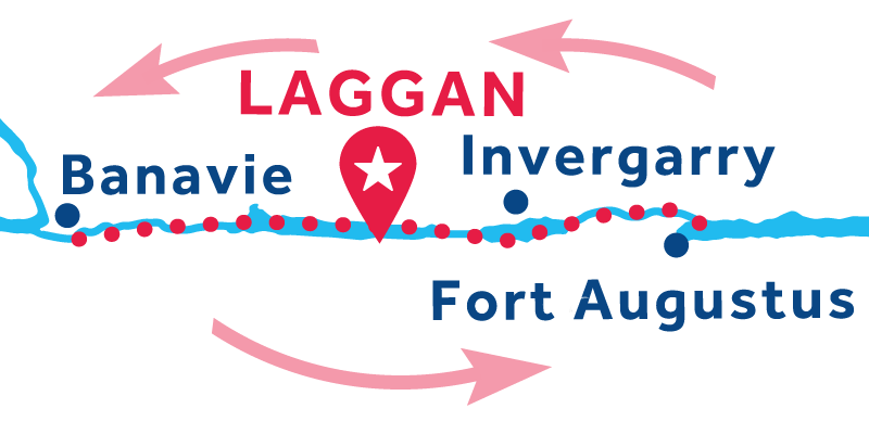 Laggan RETURN via Banavie & Fort Augustus