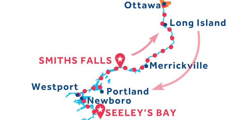 Smiths Falls to Seeley's Bay via Ottawa