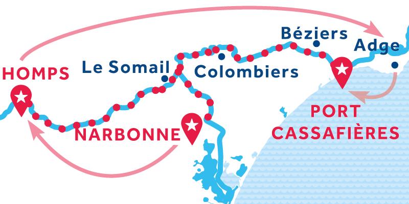 Narbonne to Port Cassafières via Homps & Agde