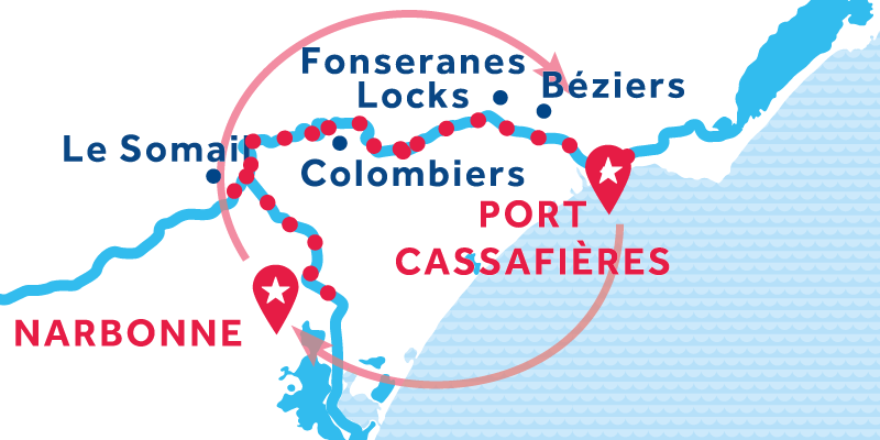 Port Cassafières RETURN via Narbonne