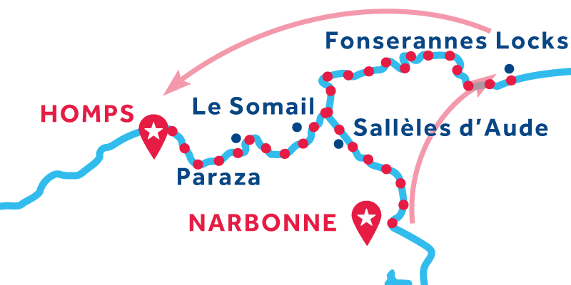 Narbonne to Homps via Fonsérannes