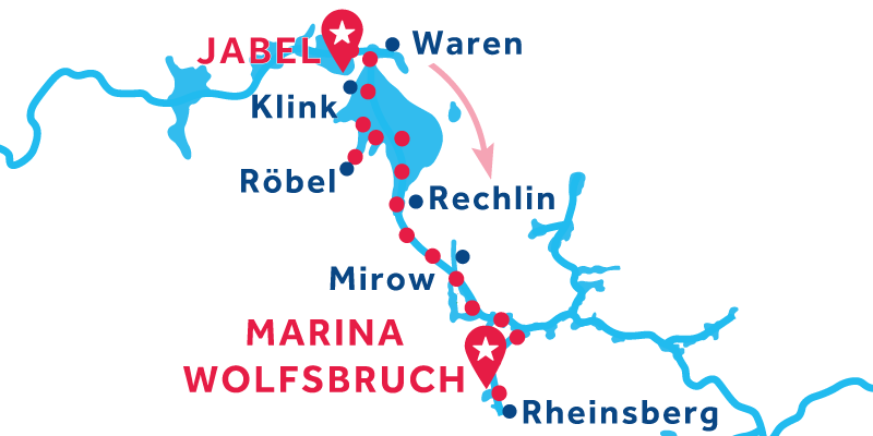 Jabel to Marina Wolfsbruch via Rheinsberg & Mirow