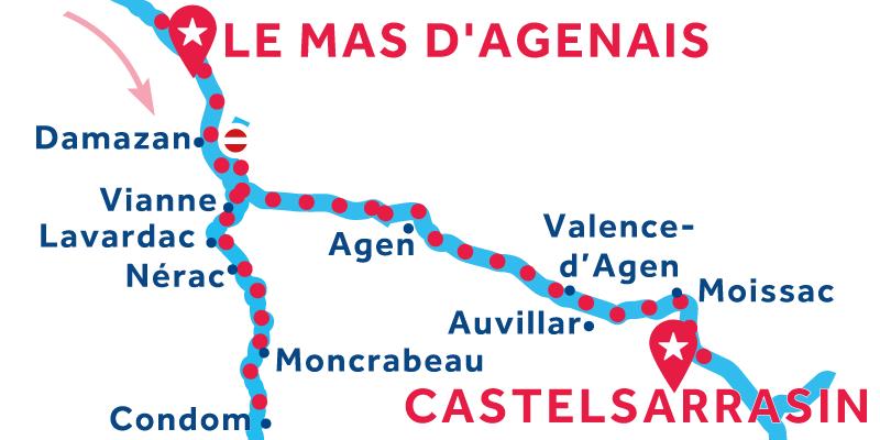Le Mas-d'Agenais to Castelsarrasin via Condom