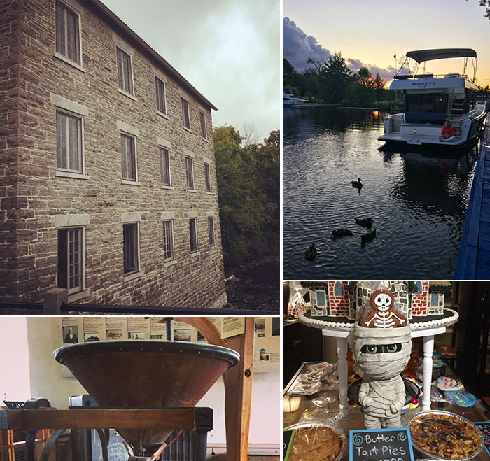 Watson's Mill and sweets in Manotick and ducks at Long Island Lockstation with Le Boat