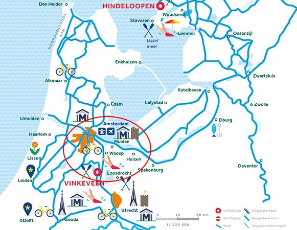 Gewässerkarte Amsterdam Niederlande