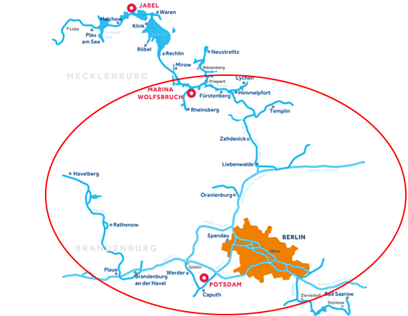 Gewässerkarte Brandenburg Deutschland