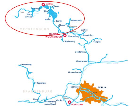 Gewässerkarte Mecklenburg Deutschland