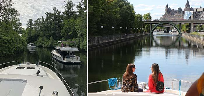 Houseboating on the Rideau Canal in Ontario offers a diverse landscape