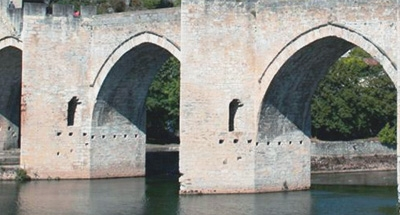 Arches of Pont Valentré in the Lot