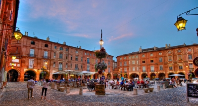 Montauban town square at twilight