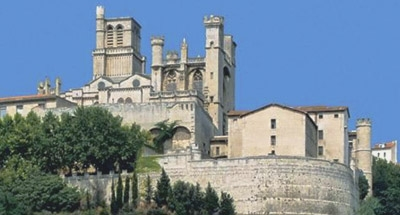 Cathedral on hill in the Canal du Midi