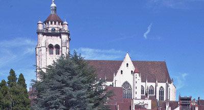 Church overlooking Burgundian town
