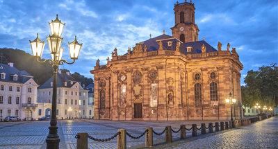 Town square at twilight, Saarbrücken