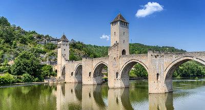 Pont Valentré bridge spans the River Lot in Cahors