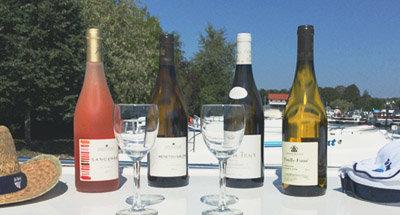 Wine bottle on Le Boat in France