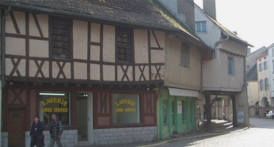 half-timbered houses in Burgundy