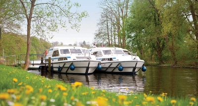 Two Le Boats moored in the countryside