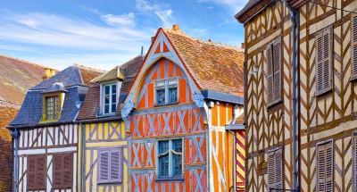 Colorful timbered housed in Auxerre
