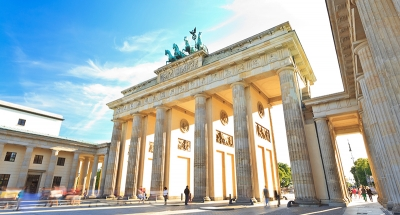 The historic arches of the Brandenburg Gate