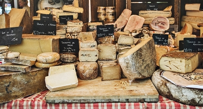 Delicious cheese market in France