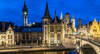 Ghent skyline at night