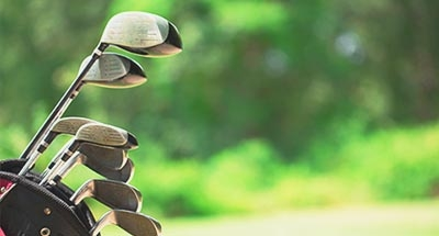Golf Clubs with blurred background