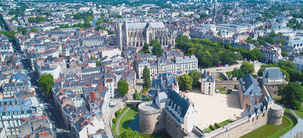 Aerial view over Nantes, Brittany