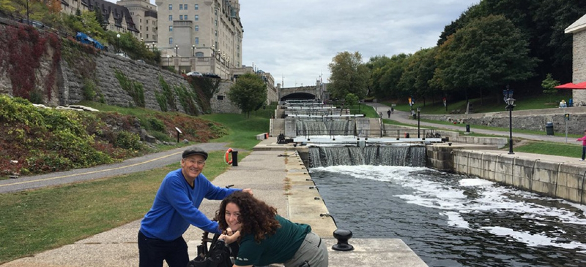 Parks Canada Staff with Joseph Rosendo on the Rideau Canal with Le Boat