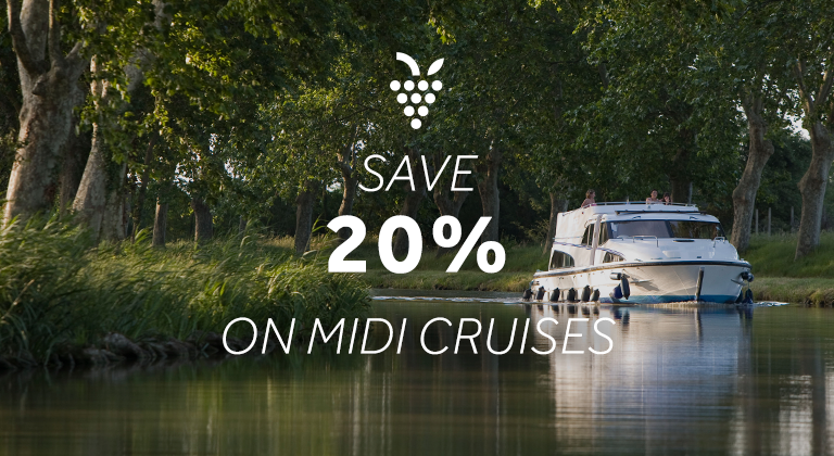 Save 20% on your cruise on the Canal du Midi