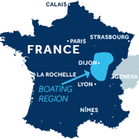 Map showing where the Burgundy: Franche Comté boating region is in France