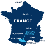 Map showing where the Canal du Midi boating region is in France