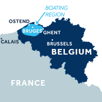 Map showing where the Flanders boating region is in Belgium