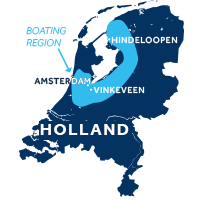 Map showing where the Friesland & Holland boating region is in the Netherlands