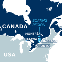 Map showing where the Rideau Canal boating region is in Canada