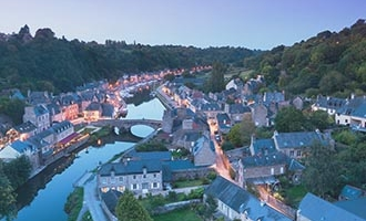 Dinan at night in Brittany