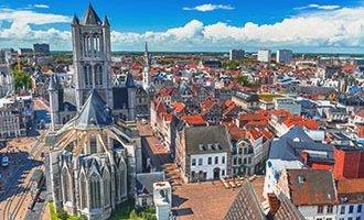 View over Ghent and Saint Nicholas Church